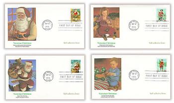 3008 - 3011 / 32c Santa and Children Self-Adhesive Issue Set of 4 Christmas Series 1995 Fleetwood FDCs