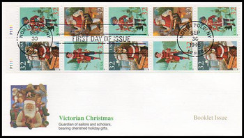3007b / 32c Santa and Children Booklet Pane of 10 Christmas Series 1995 Fleetwood FDC