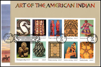 3873 / 37c Art of the American Indian Sheet of 10 Oversized Large Format Fleetwood 2004 FDC
