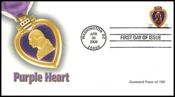 4263 / 42c Purple Heart Single From Gummed Pane of 100 Fleetwood 2008 FDC