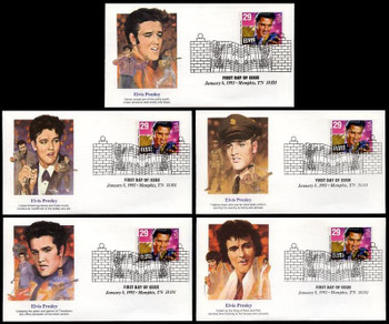 2721 / 29c Elvis Presley : American Music Series 1993 Set of 5 Fleetwood FDCs