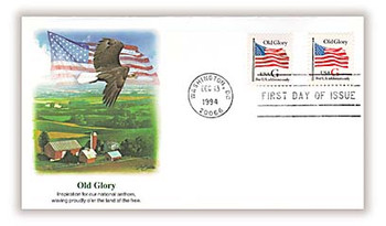 2881 - 2882 / G - Rate ( 32c ) Old Glory Combo 1994 Fleetwood FDC