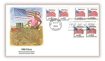 2889 - 2891 / G - Rate ( 32c ) Old Glory Coil Pairs Combo 1994 Fleetwood FDC