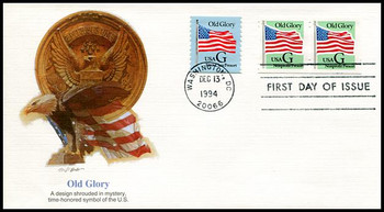 2893 / G - Rate ( 5c ) Old Glory Non-Profit Presort Rate Coil Pair 1994 Fleetwood FDC
