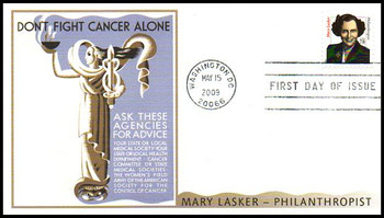 3432B / 78c Mary Lasker : Philanthropist Fleetwood 2009 First Day Cover