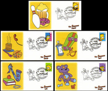 4399 - 4403 / 44c The Simpsons Set of 5 Fleetwood 2009 FDCs