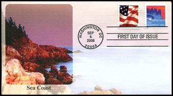 4348 / 5c Sea Coast Non-Denominated Coil Fleetwood 2008 FDC