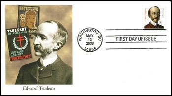 3432a / 76c Edward Trudeau : Distinguished Americans Series Fleetwood 2008 FDC
