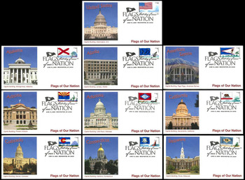 4273 - 4282 / 42c Flags of Our Nation Set of 10 PNC Fleetwood 2008 FDCs