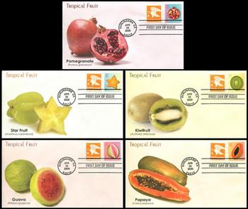 4253 - 4257 / 27c Tropical Fruits Set of 5  Fleetwood 2008 FDCs