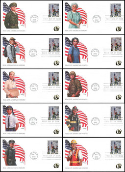 B2 /  Non-Denominated ( 34c + 11c ) Real - Life American Heroes Set of 10 Fleetwood 2002 FDCs