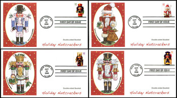 4360b - 4363b / 42c Holiday Nutcrackers Double-Sided Booklet Set of 4 Fleetwood 2008 FDCs
