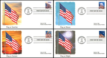 4232 - 4235 / 42c Flags 24/7 Coils Set of 4 Fleetwood 2008 First Day Covers