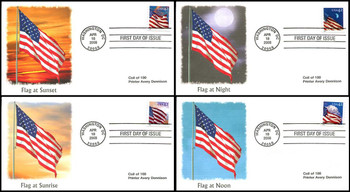 4240 - 4243 / 42c Flags 24/7 Coils Set of 4 Fleetwood 2008 First Day Covers