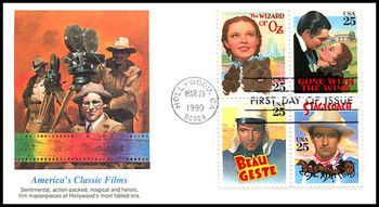 2448a / 25c Classic Films Se-Tenant Block of 4 Fleetwood 1990 FDC