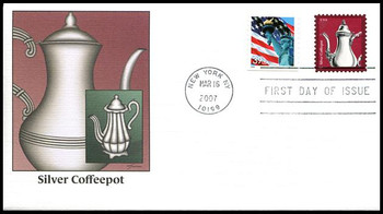 3754 / 3c Silver Coffeepot : American Design Series 2007 Fleetwood FDC