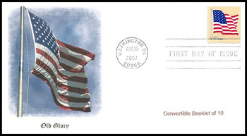 4190 / 41c US Flag Convertible Bklt of 10 Single Fleetwood 2007 FDC