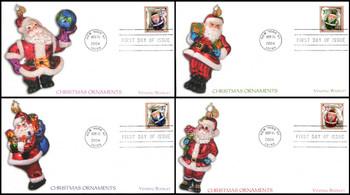 3887 - 3890 / 37c Christmas Santa Ornaments Vending Booklet Singles Set of 4  : Christmas Series Fleetwood 2004 FDCs