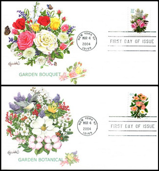 3836 - 3837 / 37c and 60c Garden Bouquet Booklet Single PSA : Love Stamp Series Set of 2 Fleetwood 2004 FDC