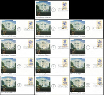 3930 / 37c Presidential Libraries Set of 13 Different Postmarks 2005 Fleetwood FDCs