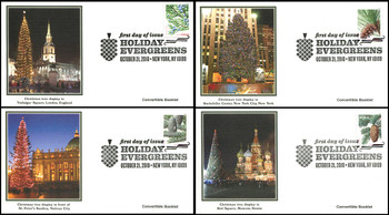 4478 - 4481 / 44c Holiday Evergreens Convertible Booklet Singles Set of 4 Fleetwood 2010 FDCs