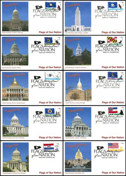 4293 - 4302 / 44c Flags of Our Nation with PNC Set of 10 Fleetwood 2009 FDCs