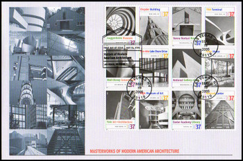 3910 a - l / 37c Masterworks of Modern American Architecture Block of 12 Oversized Large Format Fleetwood 2005 FDC