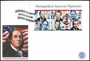 4076 / 39c Distinguished American Diplomats Souvenir Sheet of 6 Oversized Large Format Fleetwood 2006 FDC