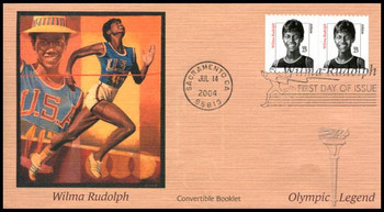3436 / 23c Wilma Rudolph Convertible Booklet Pair Fleetwood 2004 FDC