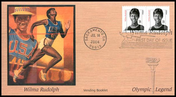 3436v / 23c Wilma Rudolph Vending Booklet Pair Fleetwood 2004 FDC