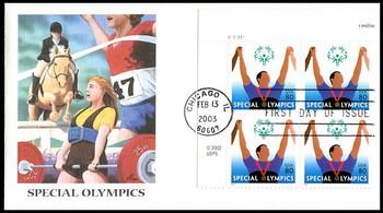 3771 / 80c Special Olympics Plate Block Upper Left Fleetwood 2003 FDC