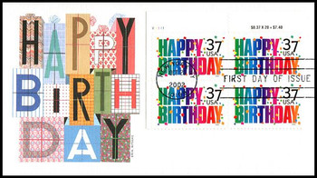 3695 / 37c Happy Birthday PSA Plate Block Upper Left 2002 Fleetwood FDC