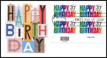 3695 / 37c Happy Birthday PSA Plate Block Lower Left 2002 Fleetwood FDC