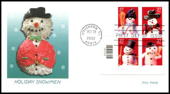 3679a / 37c Snowman PSA Plate Block of 4 Fleetwood 2002 First Day Cover