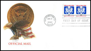 O159 / 37c Eagle Official Mail Coil Pair Fleetwood 2002 FDC