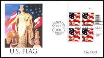 3630 / 37c U.S. Flag PSA Pane Plate Block Fleetwood 2002 FDC
