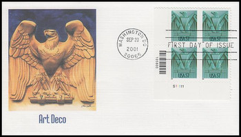 3471a / 57c Art Deco Eagle Plate Block Fleetwood 2001 First Day Cover