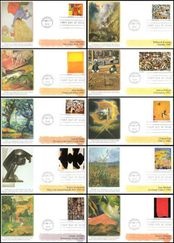 4444 a-j / 44c Abstract Expressionist Paintings Set of 10 Fleetwood 2010 FDCs