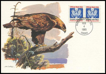 O139 / D Rate (22c) Official Mail Eagle Coil Pair 1985 Fleetwood First Day of Issue Maximum Card