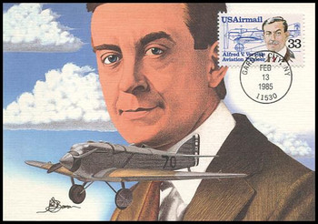 C113 / 33c Alfred Verville Airmail Aviation Pioneers Series 1985 Fleetwood First Day of Issue Maximum Card