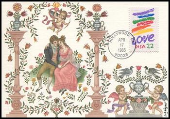2143 / 22c Crayon Stripes Love Stamp 1985 Fleetwood Maximum Card