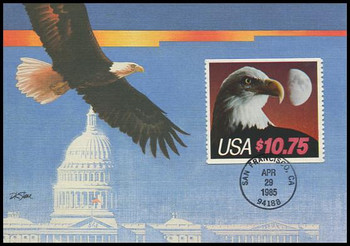 2122 / $10.75 Eagle and Moon Express Mail 1985 Fleetwood Maximum Card