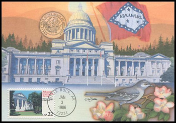 2167 / 22c Arkansas Statehood 1986 Fleetwood Maximum Card
