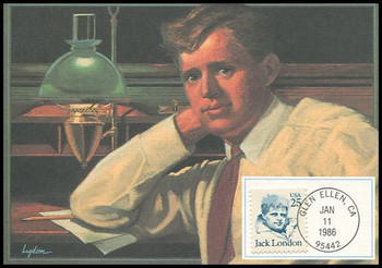 2182 / 25c Jack London : Great Americans Series 1986 Fleetwood Maximum Card