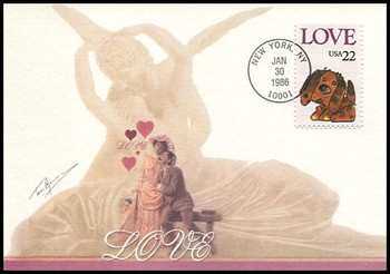 2202 / 22c Puppy Love : Love Stamp Series 1986 Fleetwood First Day of Issue Maximum Card
