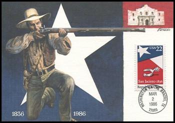2204 / 22c Republic of Texas : Washington on the Brazos, TX Postmark 1986 Fleetwood First Day of Issue Maximum Card
