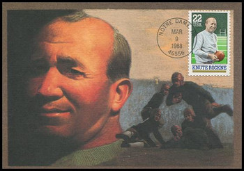 2376 / 22c Knute Rockne Notre Dame Football Coach 1988 Fleetwood First Day of Issue Maximum Card
