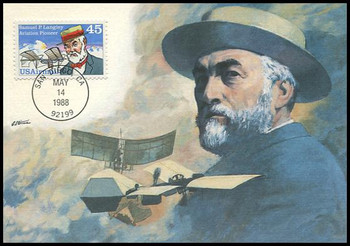 C118 / 45c Samuel P. Langley : Aviation Pioneers Series Airmail 1988 Fleetwood First Day of Issue Maximum Card
