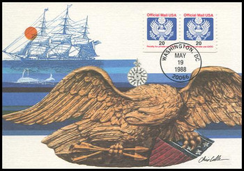 O138b / 20c Official Mail Eagle Coil Pair 1988 Fleetwood First Day of Issue Maximum Card