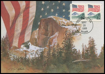 2280 / 25c Flag over Yosemite Coil Pair 1988 Fleetwood First Day of Issue Maximum Card